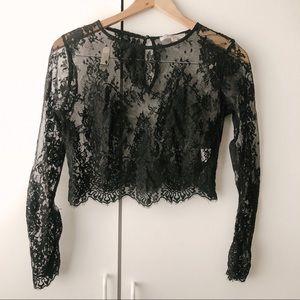 Tops - Morning Lavender Longsleeve Black Lace Crop Top